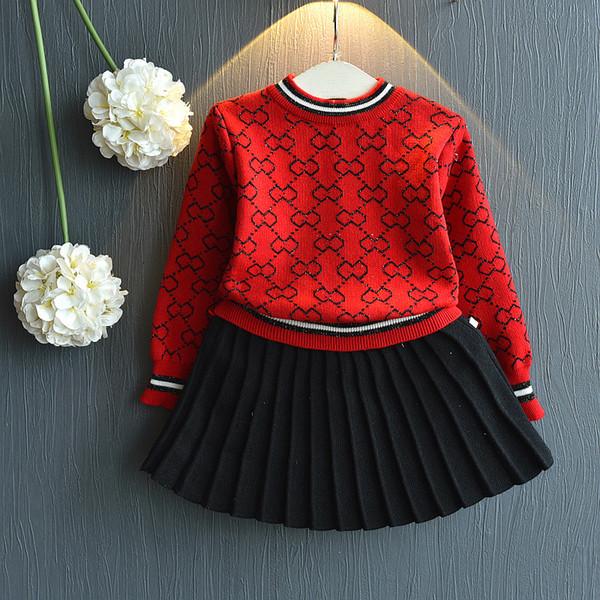 Bébé fille automne hiver vêtements ensemble enfants filles rouge pull en tricot haut + jupe à plis Noël filles tenues L369W