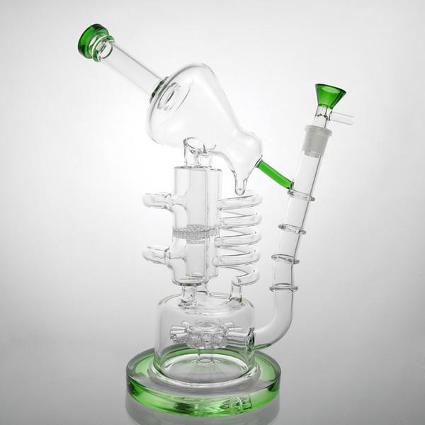 "Huge Bongs Recycler Glass Bong Oil Rig 13"" Bongs Birdcage Big Water Pipes Bubbler Mobius Matrix Sidecar Beaker Heady 14mm Bowl Three Colors"