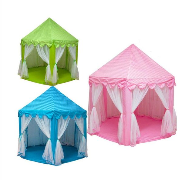 INS Children Portable Toy Tents Princess Castle Play Game Tent Activity Fairy House Fun Indoor Outdoor Sport Playhouse Toy Kids Gifts 50Pcs