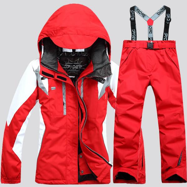 Ski desgaste outono e inverno das mulheres à prova de vento à prova d 'água ao ar livre terno de algodão quente folheado duplo bordo assalto calças