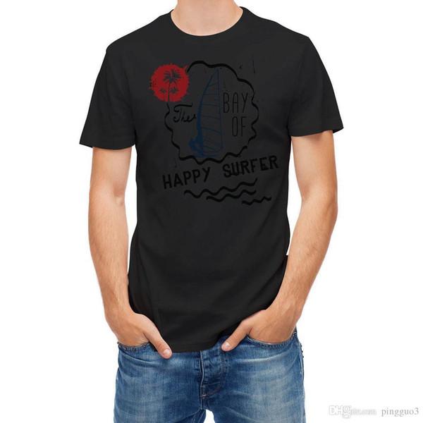 T-shirt Happy Surfer Summer Beach Bay Printed T Shirt Men Cotton T-Shirt New Style Short Sleeves Cotton T Shirt