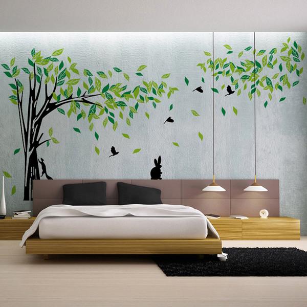 Büyük Yeşil Ağaç Duvar Sticker Vinil Oturma Odası Tv Duvar Çıkarılabilir Sanat Çıkartmaları Ev Dekorasyonu Diy Posteri Çıkartmalar Vinilos Paredes
