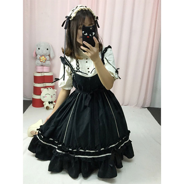 Summer Japanese Punk Gothic High waist jsk Dress Lolita Dresses with tops Wine red ,Pink ,Black .bow-knot