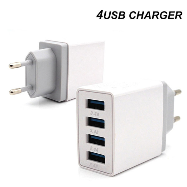 top popular 4 Ports USB Quick Charge 3.0 Travel Charger Charing QC3.0 Wall Charger EU Plug 2021