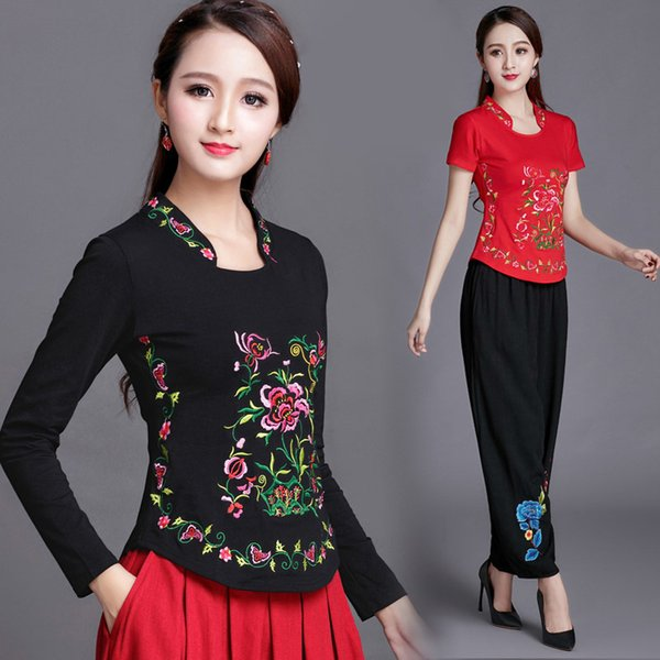 Estilo chino para mujer jersey 2018 primavera otoño bordado de manga larga  camiseta mujer dama más cd78ef478b4d