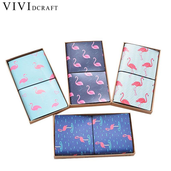 Vividcraft Strolling Flamingo PU Leather Cover Planner Notebook Diary Book Exercise Composition Binding Note Notepad Gift