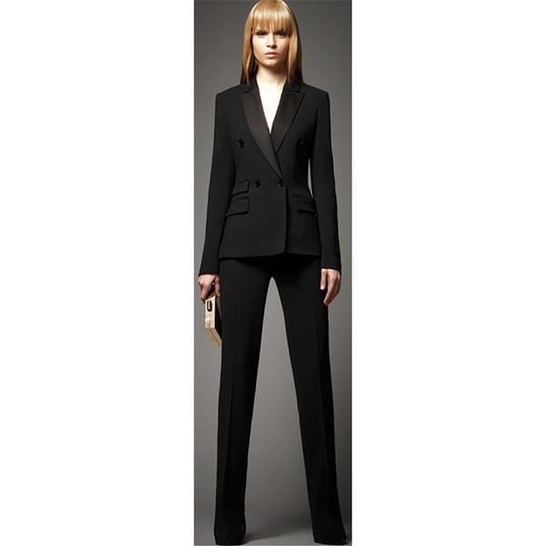 Ladies Business Suit Set (Jacket + Pants) Black Double Breasted Ms. Office Uniform Women's Formal Pants Two-Piece Suit