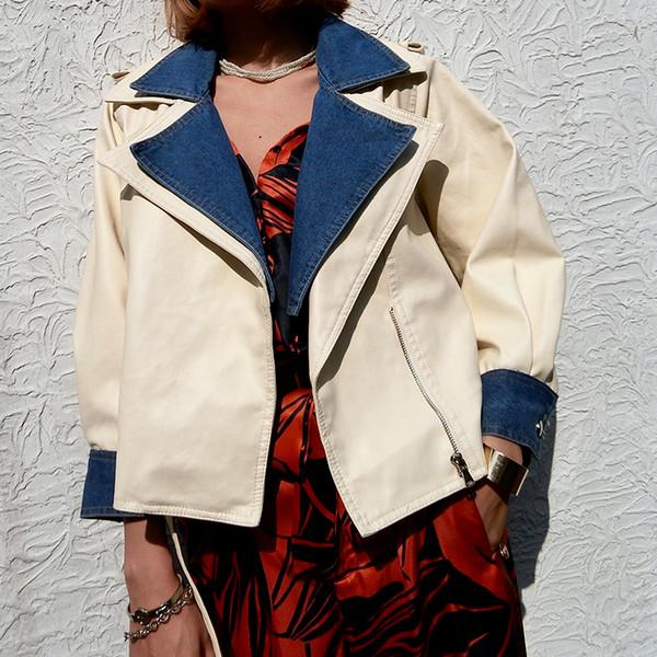 2018 New Autumn Women Loose Soft Faux Leather Jackets Lady Free Denim Patchwork PU Batwing Sleeve Coats Streetwear Black Beige