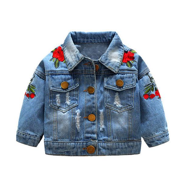 2018 Frühling und Herbst Baby Mädchen Denim Jacken Mäntel Blume Stickerei Mode Kinder Oberbekleidung Mantel Kinder Mädchen Freizeitjacke