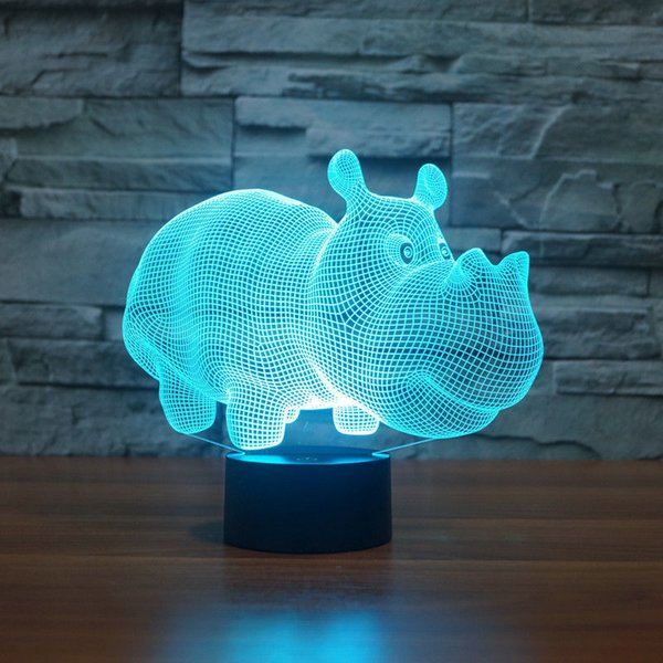 Rhinoceros 3D illusion Night Light 7 cambia colori LED Table Desk Gifts 2018 # R87