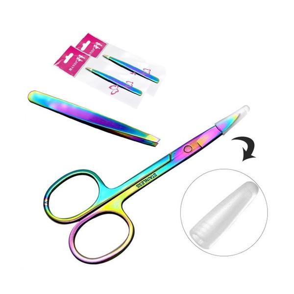 Professionelle Regenbogen Farbe Edelstahl Augenbraue Pinzette Augenbraue Mini Schere Clip antistatische Gesicht Haarentferner Werkzeug