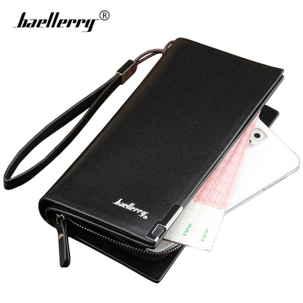Baellerry Handy Leather Men Wallets with Strap Long Clutch Zipper Mens Wallet Male Famous Brand Business Money Bag Coin Purse
