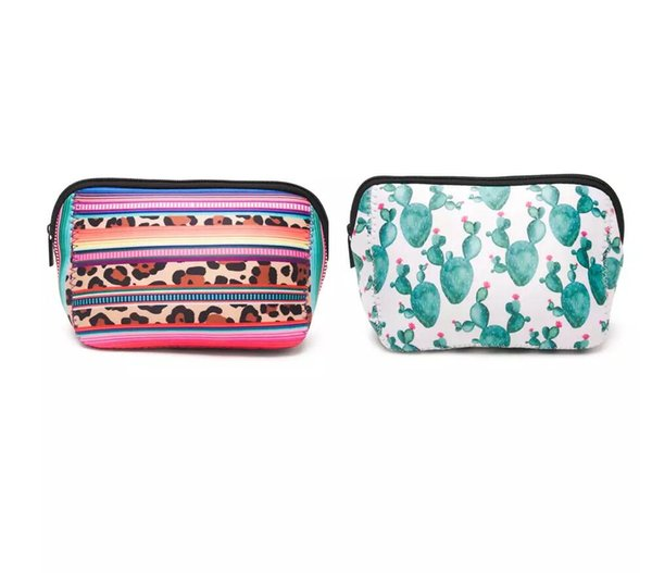 5.2*3.5*6.7 inch Wholesale Blanks Neoprene Leopard Serape Makeup Bag Triangle Cactus Cosmetic Case Women Accessories Hand Bag