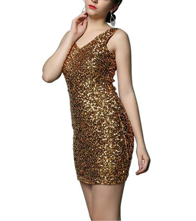 Cheap V Front Bodycon Casual Mini Club l Sequin Sparkly Embellished Cocktail Party Dress Black Gold for Juniors 1920 under 50