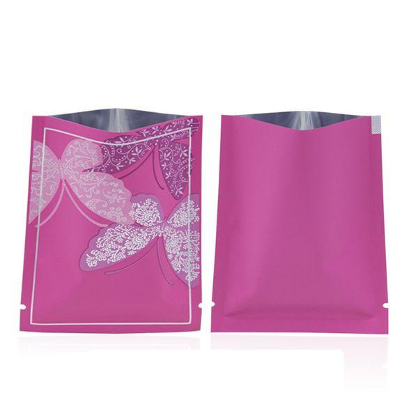100pcs Elegant Matt Butterfly Open Top Aluminizing Bag Heat Sealing Bag Facial Mask Powder Gift Herbal Packaging Bag