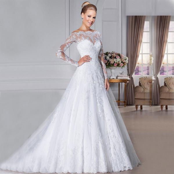 spongebobtrade / Calidad 2018 Victoria Sheer cuello de encaje vestido de boda vestido más el tamaño vestido de las mujeres embarazadas con cuentas Beauta una línea