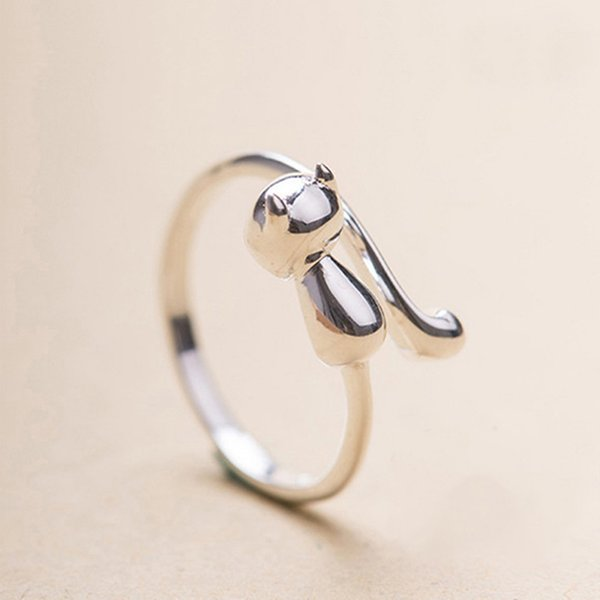 New Fashion Silver Plated Cat Rings Jewelry For Women Beautiful Finger Open Rings For Party Birthday Gift Adjustable