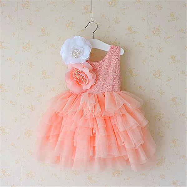 NOVA Menina roupas da menina Vestidos Crianças Boutique Lace Suspender vestido Tutu Menina Elegante Grande Flor Decoração de Renda vestido de Baile Vestido de Noiva