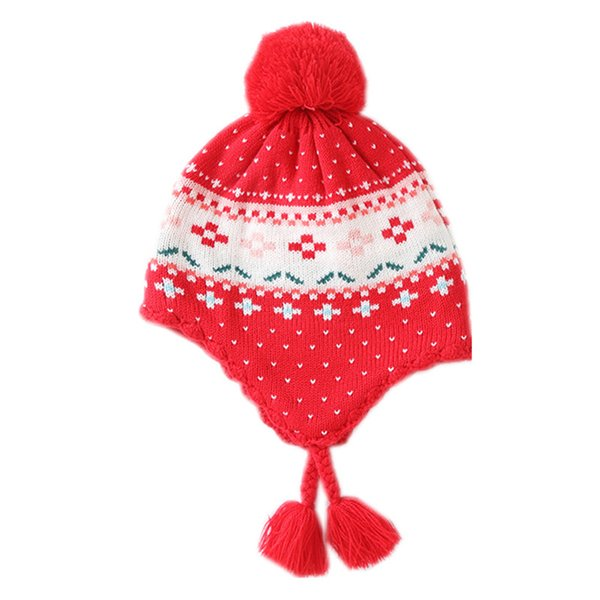 591bc7b26ae baby   kids girls red geometric print winter fleece beanie bucket casual hats  children fashion christmas knitted earflap caps