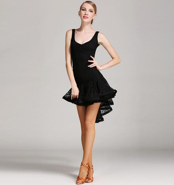 Latin Dance Dress For Women Black Sleeveless Professional Sumba Dancing Skirt Adult Cheap Stage Rumba Latin Dresses