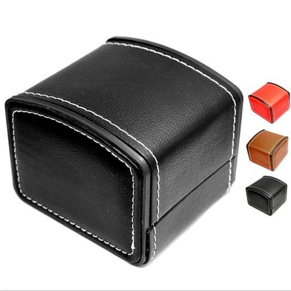 Caixa de Relógio de luxo Durável PU Leather Watch Boxes Pulseira Pulseira Jóias Relógio De Pulso Display Case Com Caixa De Armazenamento De Travesseiro