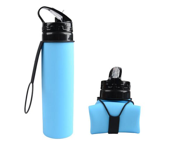 Yeni 600 ml açık sürme su şişesi Taşınabilir katlanabilir silikon su torbası özel reklam hediye spor şişe