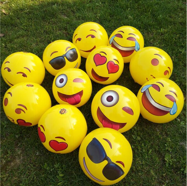 30cm Cute Emoji Face Inflatable Beach Balls Children Adult Summer Party Water Fun Pool Toys Ball For Kids