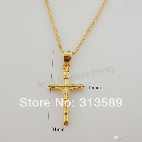 "Wholesale-min order 10$/NEW DESIGN 24K YELLOW GOLD OVERLAY 18"" NECKLACE & JESUS CROSS GOD PENDANT CUTE SHAPED"