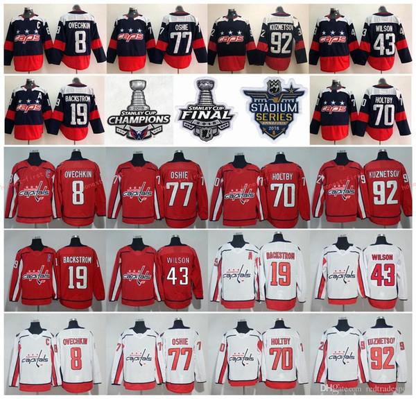 Washington Capitals 2018 Campeões da Stanley Cup 8 Alex Ovechkin T.J. Oshie Nicklas Backstrom Braden Holtby Evgeny Kuznetsov