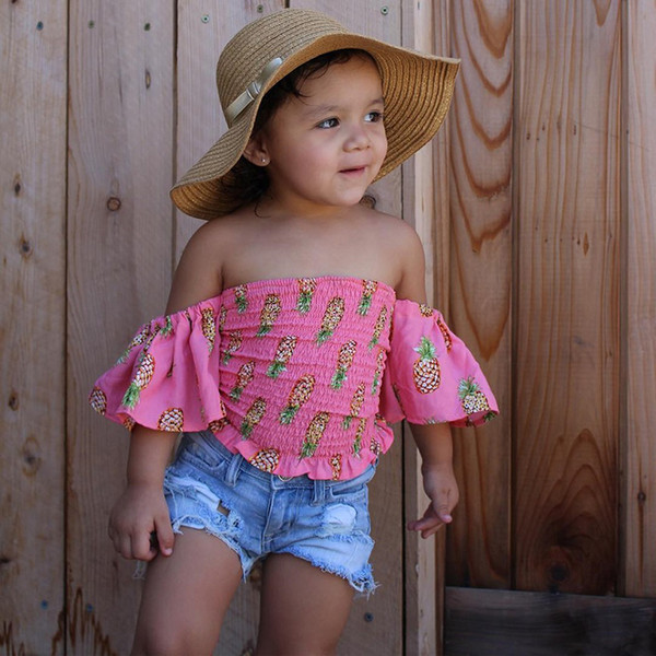 flower Print pineapple top Kids girls set Baby Girl Off Shoulder pink T Shirt Tops Shorts Outfit children Clothes Sets 1-6y girl clothes