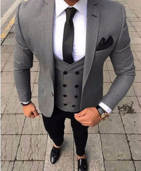 Latest Design Groom Tuxedos One Button Gray Notch Lapel Groomsmen Wedding Mens Blazer Party Suits (Jacket+Pants+Vest+Tie) J607
