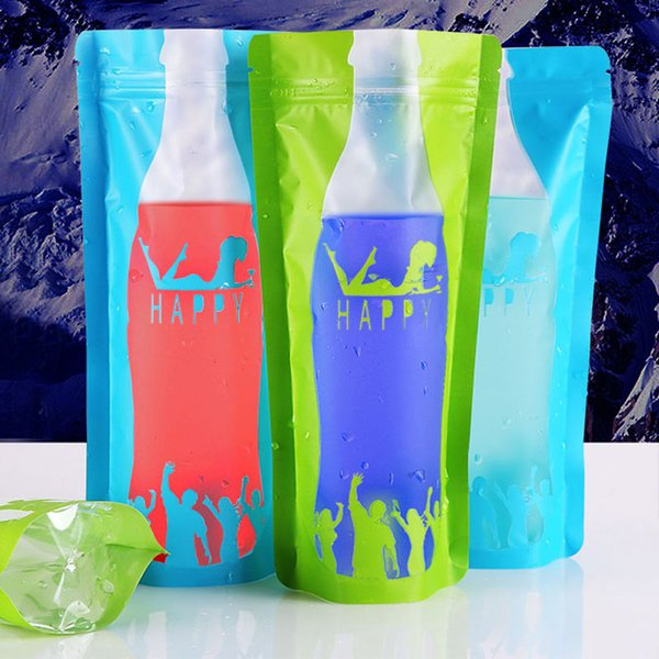 500ml Frosted Standing Beverage Bags Thick Self-seal Drinks Pack Drink Pouches Plastic Drink Bag Free Shipping QW8778