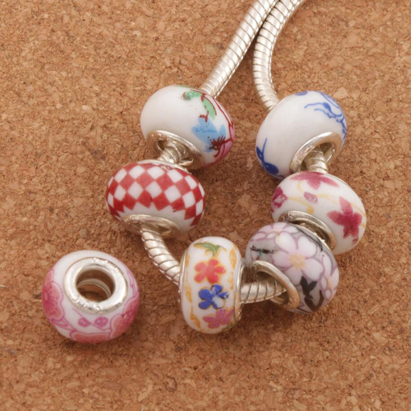 best selling 925 silver Handmade Porcelain Ceramic Big Hole Beads 60pcs lot Mix 14X9mm Fit European Charms Bracelets Jewelry DIY