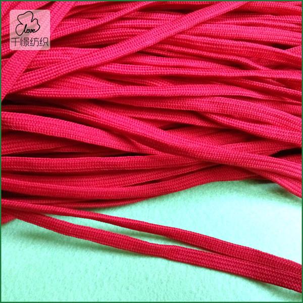 8MM large couleur rouge tressé cordon plat / corde bricolage chaussures lacets corde polyester bricolage QRF-19