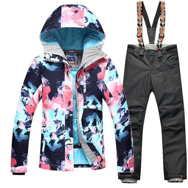GSOU SNOW Winter -35 Degree Women Ski Suit Female Snowboarding Suits Waterproof 10K Super Warm Skiing jacket+Pants Outdoor Sport