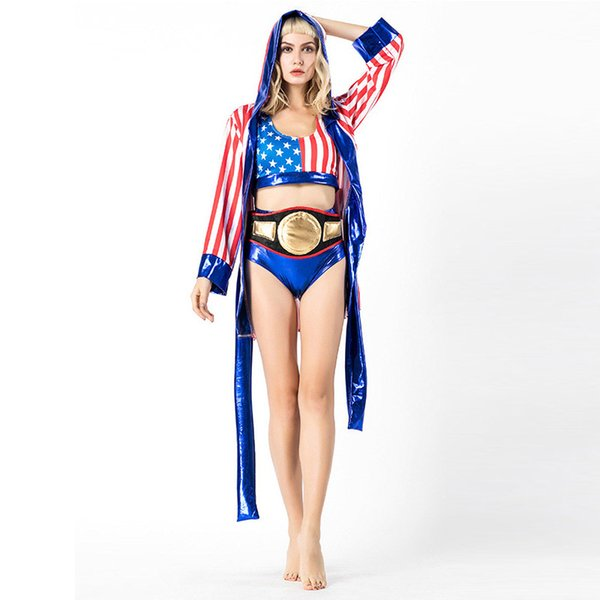 New Europe and America Women Boxing Champion Halloween Costumes Modern Red Stripe Adult Game Clothing Top+Pants +Girdle W158870A