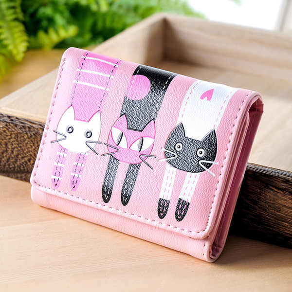 2018 HOT New Coming Fashion Lady Women Short Check Purse Cat lovely wallet PU Leather wallet Card holder Famous brand Wallet