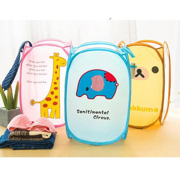 Cute Animal Folding Dirty Clothes Storage Basket Nylon Storage Bucket Children's Toys Shoes Garment Clothing Case Organizer
