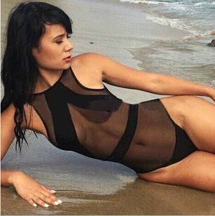 8f8549a0db mesh see through bikini Promo Codes - New Mesh Black One Piece Swimwear  Sexy See Through