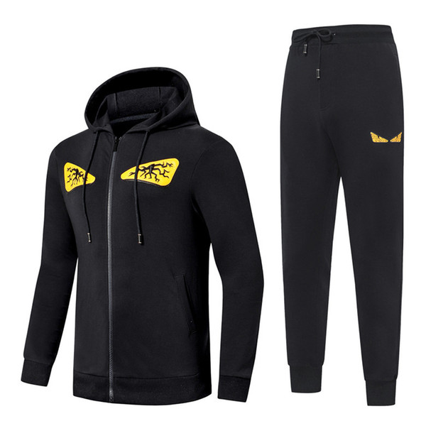 top popular Designer Tracksuit Men Brand Sweat Suits see Autumn Mens Luxury Tracksuits Jogger Suits Jacket Pants Sets Sporting Suit Print men cotton 2019