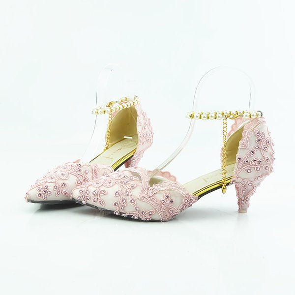 Pink lace Shiny high heels lady's shoes Women sandals Bridal Evening Prom Party club Bridesmaid shoes with pearl straps 020