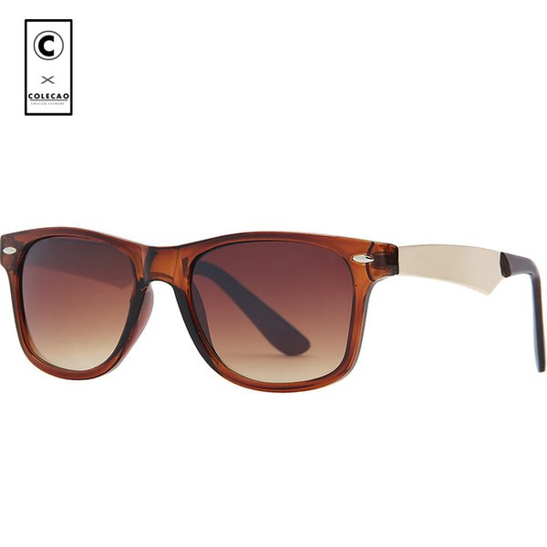 COLECAO Lunettes De Soleil Carrées En Métal Hommes Rivets UV400 Marque Designers 2018 Mode Unisexe vintage Lunettes De Soleil Classiques Oculos 1041