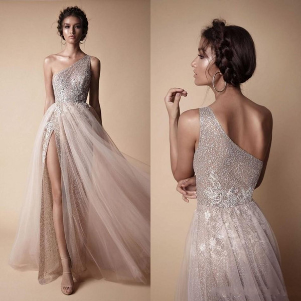 Berta 2018 Sexy High Side Split Sequined Wedding Dresses Bohemian One Shoulder Lace Appliqued Bridal Gowns vestido de novia BA7859