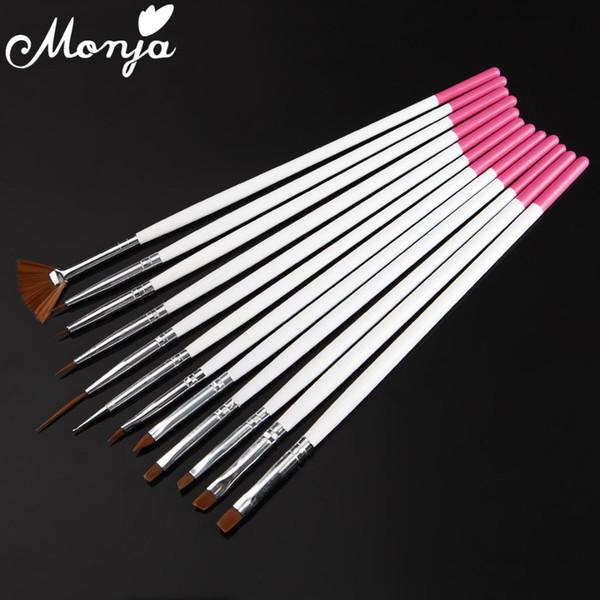 12 Pçs / set Nail Art Decoração Pincéis De Madeira Lidar Com Caneta Pintura Linhas de Desenho Falso Dicas UV Gel Polonês Fan Styling Manicure Kit