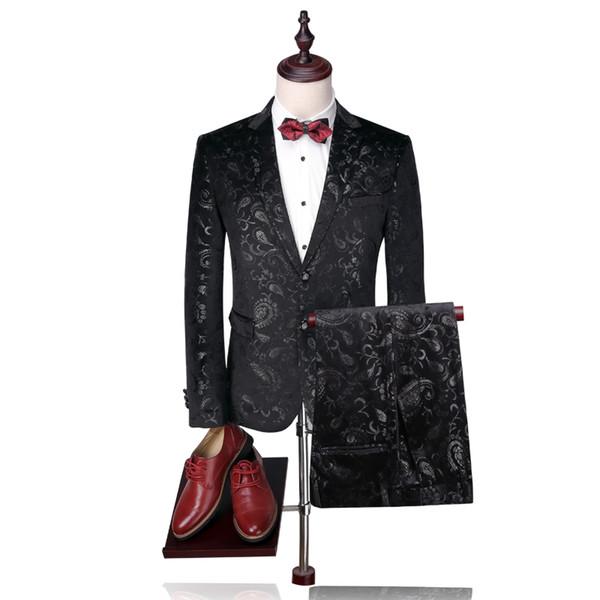 Men Suit 2018 Luxury Tuxedo Wedding Suits For Men Slim Fit Velvet Tuxedo Jacket 4XL Fashion Printed Floral Suit