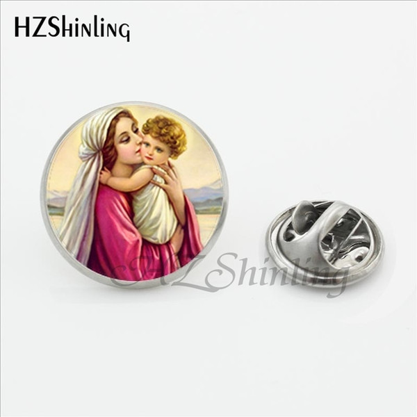 LP-0019 New Virgin Mary Mother of Baby Lapel Pin Glass Photo Pins Stainless Steel Collar Tips Men Mother and Baby Jesus Brooches