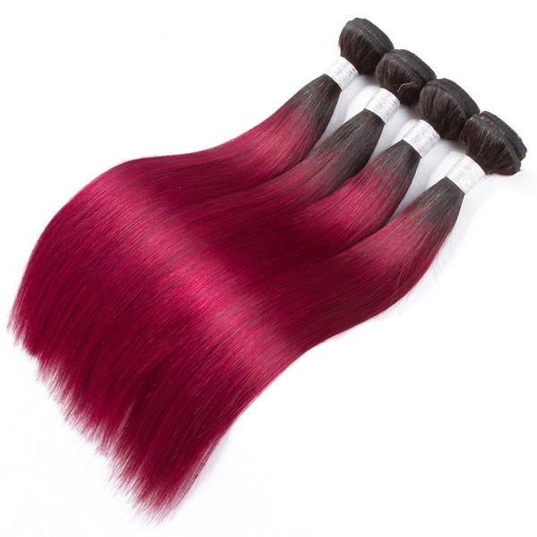 Fasci di capelli lisci brasiliani per capelli colorati moda 3 fasci 1b / bug estensioni dei capelli umani fasci di tessuto non remy Ombre