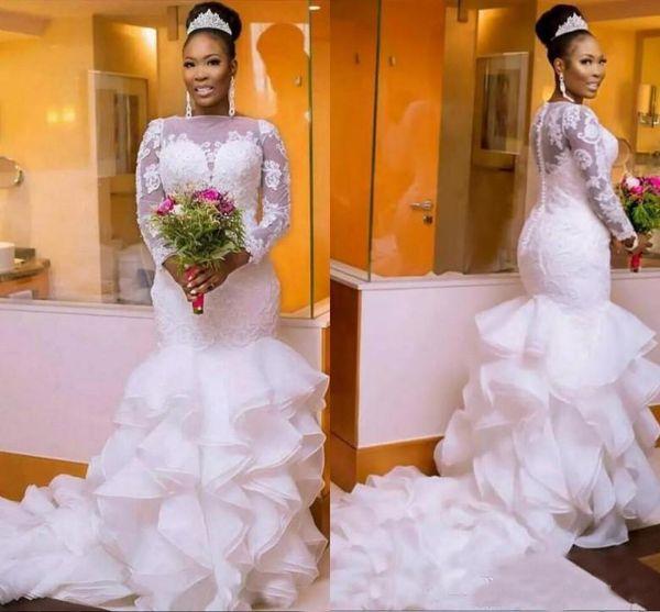 2018 nigerianos sudafricanos Vestidos de novia Talla grande Manga larga Cuello ajustado Con cola de pescado Sirena Vestidos de novia Con cuentas Chic Layer Ruffles