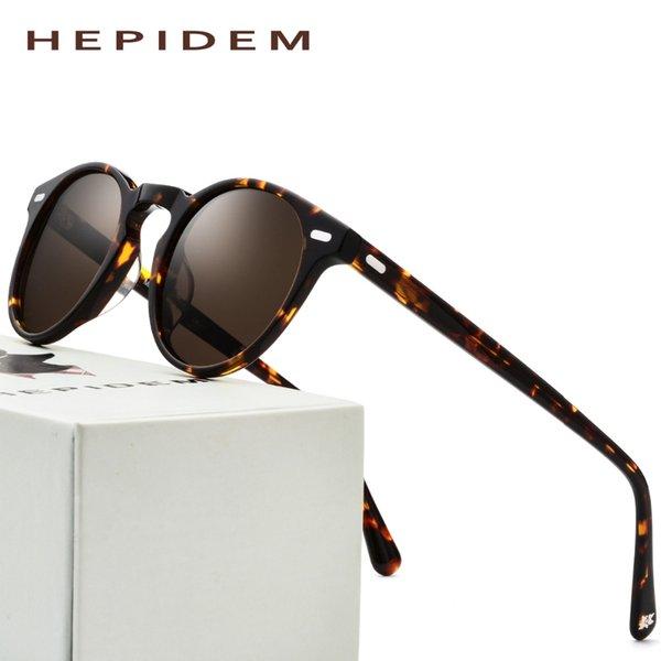bb90d29e44 Gafas de sol polarizadas de acetato hombres 2018 de alta calidad redondas  gafas de sol de