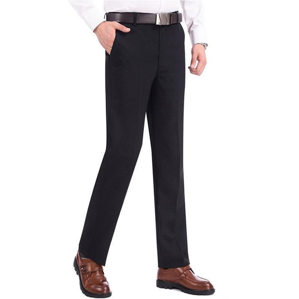 a0889f6ce72 Business straight loose elastic high waist middle-aged dad spring trousers  plus velvet casual pants